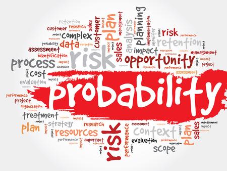 Probabilidad nube de la palabra, concepto de negocio