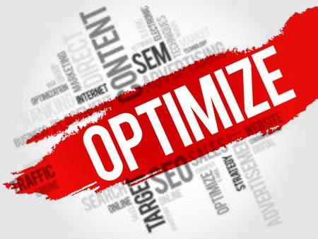 optimize: OPTIMIZE word cloud, business concept