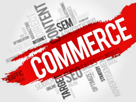 commodity: COMMERCE word cloud, business concept