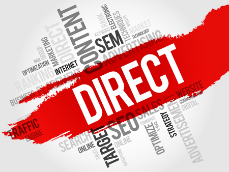 media distribution: DIRECT word cloud, business concept Illustration