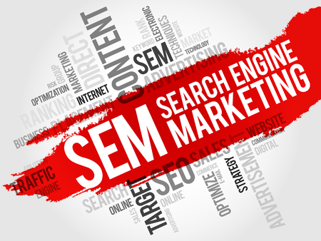 search engine optimized: SEM Search Engine Marketing word cloud business concept