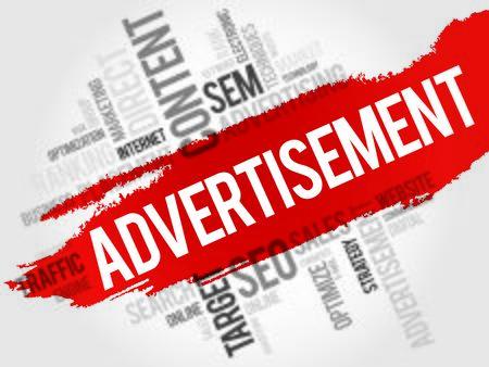 public market sign: ADVERTISEMENT word cloud, business concept