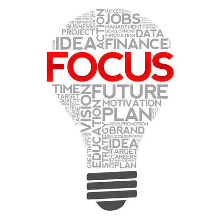 concentrate: FOCUS bulb word cloud, business concept