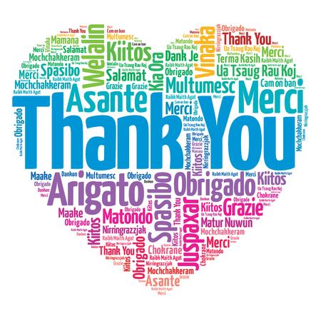 Děkuji v mnoha jazycích, láska srdce koncept
