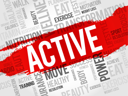 health concept: ACTIVE word cloud, fitness, sport, health concept Vectores