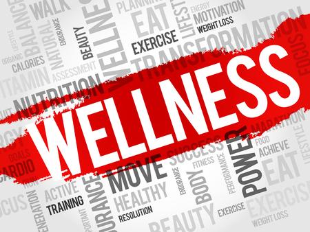 buena salud: BIENESTAR nube de palabras, fitness, deporte, concepto de salud Vectores