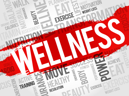 good health: WELLNESS word cloud, fitness, sport, health concept