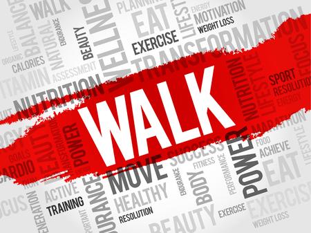 health concept: WALK word cloud, fitness, sport, health concept