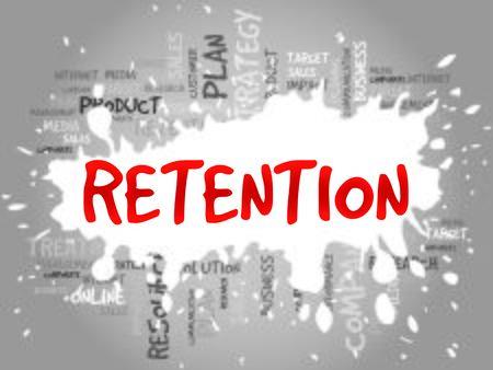 brand activity: RETENTION word cloud, business concept