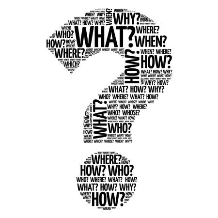 a question mark: Question mark, Question words concept