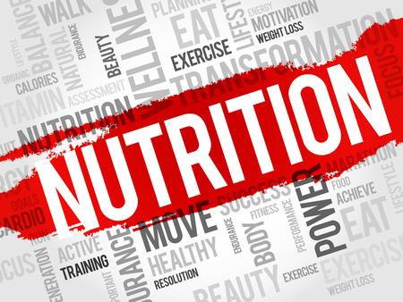 nutricion: Nutrición nube de palabras, fitness, deporte, concepto de salud Vectores