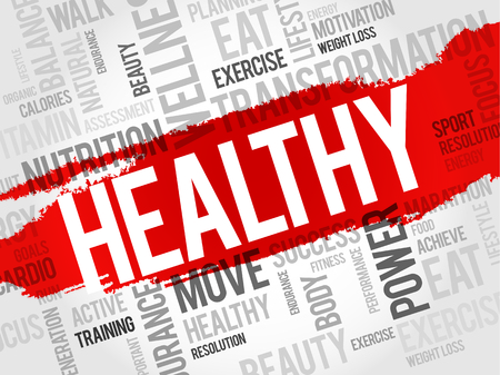 health concept: HEALTHY word cloud, fitness, sport, health concept