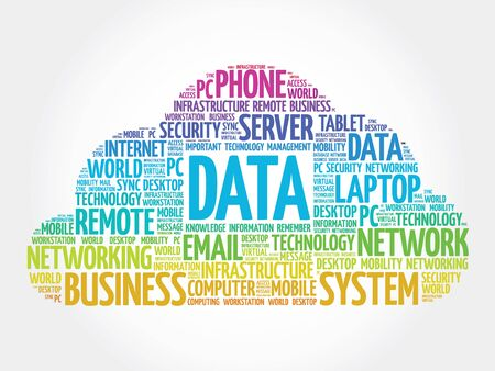 synchronizing: Data word cloud, business concept Illustration