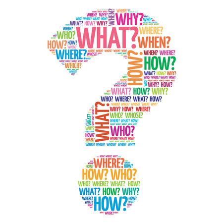wort: Fragezeichen, Fragewörter Konzept