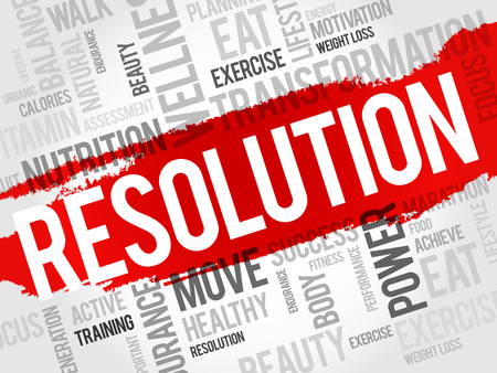workout gym: RESOLUTION word cloud, fitness, sport, health concept Illustration