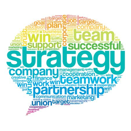 relationsip: Colorful Strategy Think Bubble Words Cloud, business concept