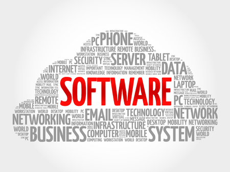 execution: Software word cloud, business concept Illustration