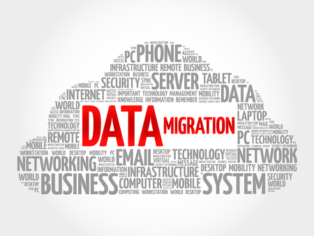 migraci�n: Data Migration word cloud concept