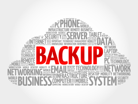 synchronized: BACKUP word cloud, business concept
