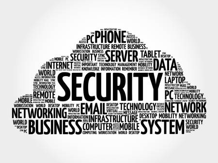 sec: Security word cloud, business concept Illustration