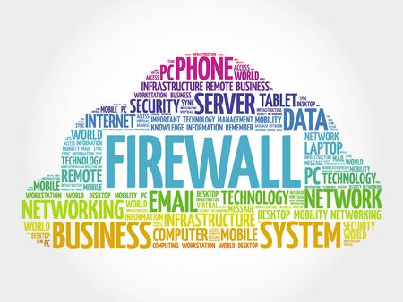 secret identities: FIREWALL word cloud, business concept Illustration