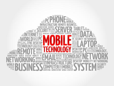 Mobile technology word cloud concept