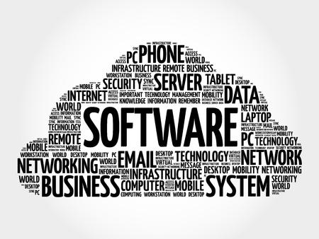Software word cloud, business concept Illustration