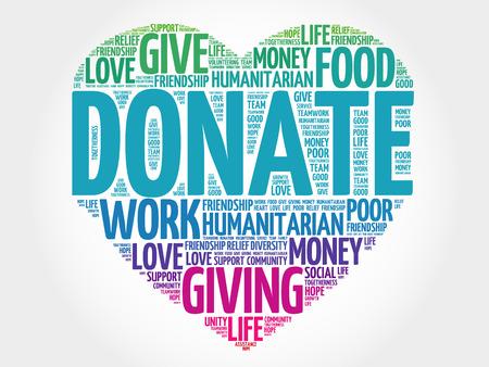 Donate word cloud, heart concept Stock Illustratie