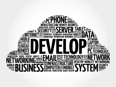 develop: DEVELOP word cloud, business concept Illustration