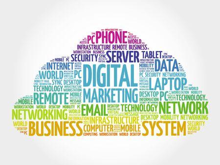 digital: Digital marketing word cloud concept
