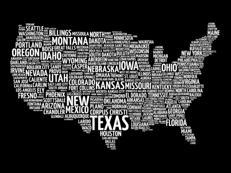 USA Map Word Cloud With Most Important Cities Royalty Free - Us cloud map