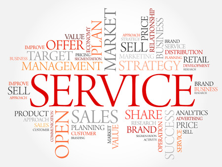 maintainability: SERVICE word cloud, business concept