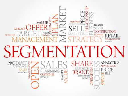 Segmentation word cloud, business concept Illustration