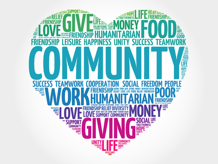 society: Community word cloud, heart concept