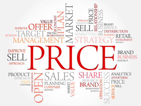 proportionate: PRICE word cloud, business concept
