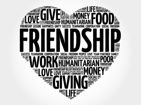 family and friends: Friendship word cloud, heart concept Illustration