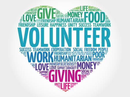 ボランティアの単語の雲、心の概念