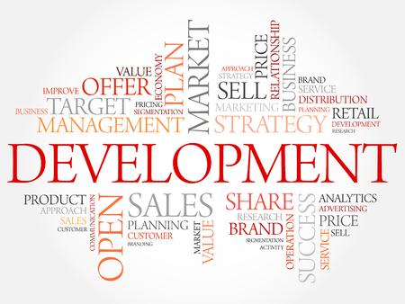 define: Development word cloud, business concept Illustration