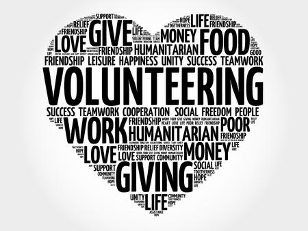 Vrijwilligerswerk woordwolk, hartconcept