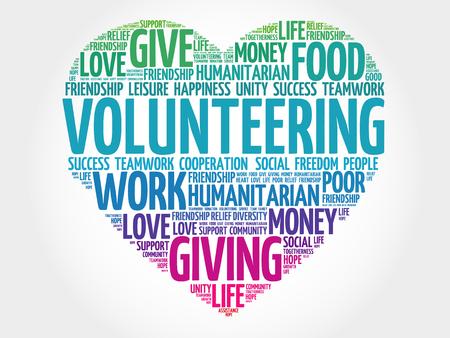 gönüllü: Volunteering word cloud, heart concept