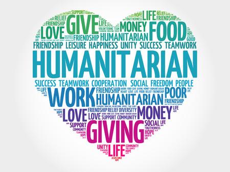 Humanitarian word cloud, heart concept Vectores