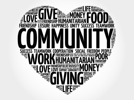 community help: Community word cloud, heart concept