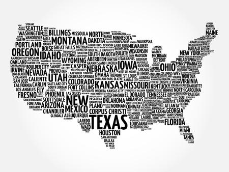 EE.UU. Mapa nube de palabras con la mayoría de ciudades importantes