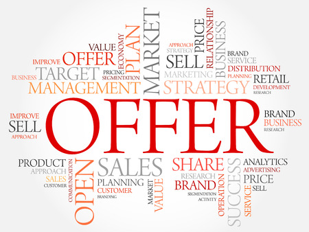 retailing: Offer word cloud, business concept