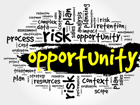 opportunity: Opportunity and success word cloud, business concept Illustration