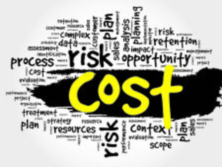 business time: Word cloud of COST related items, presentation background
