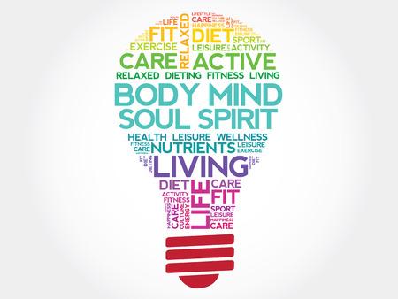 心・魂・精神の電球単語の雲、健康概念を体します。