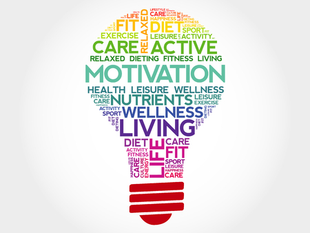 readiness: MOTIVATION bulb word cloud, health concept