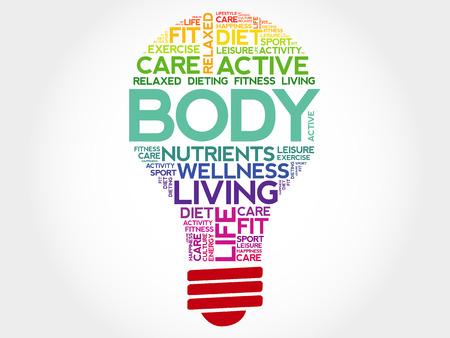 health concept: BODY bulb word cloud, health concept
