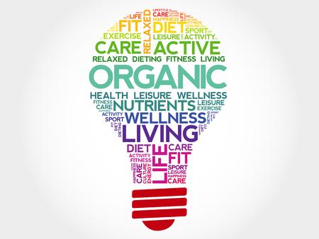 health concept: ORGANIC bulb word cloud, health concept Vectores